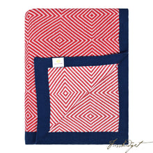 Load image into Gallery viewer, Cotton Throw Blanket - Piazza Collection - Cornel Red/Ivory with Navy Border-Fussbudget.com