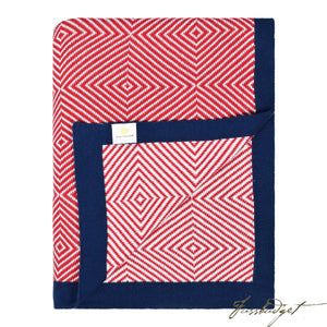 Cotton Throw Blanket - Piazza Collection - Cornel Red/Ivory with Navy Border-Fussbudget.com