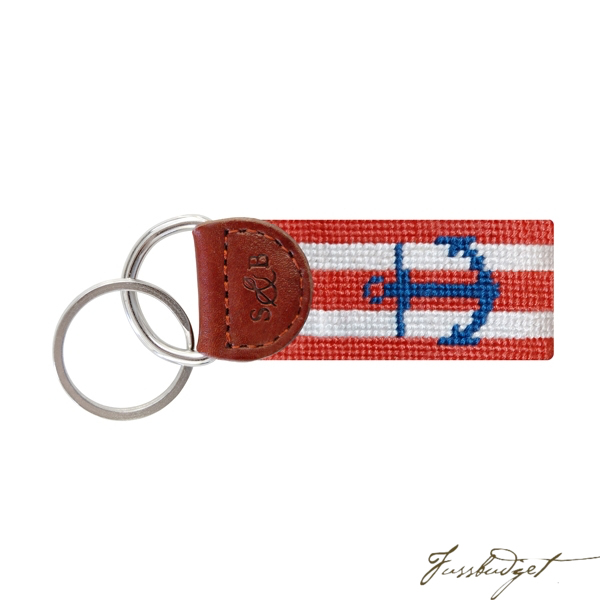 Striped Anchor (Coral & White) Needlepoint Key Fob-Fussbudget.com