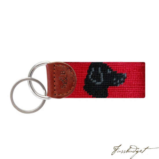 Black Lab Head Needlepoint Key Fob-Fussbudget.com