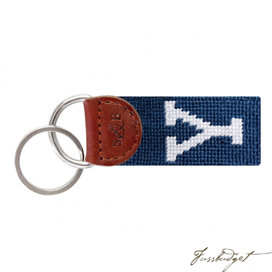 Yale University Needlepoint Key Fob-Fussbudget.com