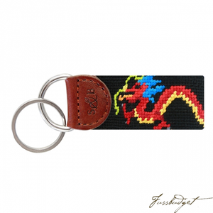 Dragon (Black) Needlepoint Key Fob-Fussbudget.com