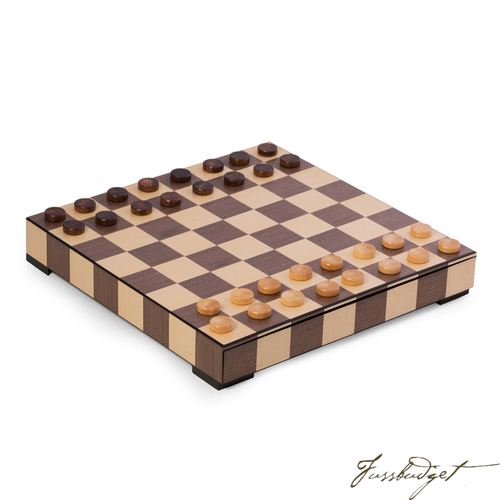 Matted Inlay Chess and Checkers Set with Storage Drawer.-Fussbudget.com