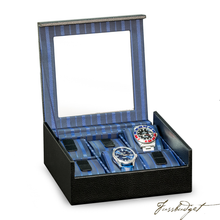Load image into Gallery viewer, Black Leather Six Watch Case with Glass Top-Fussbudget.com