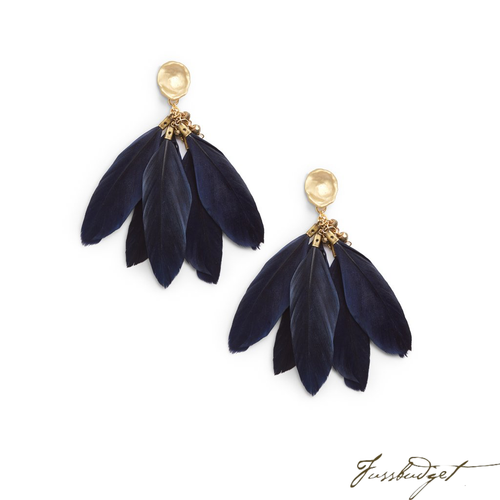 FEATHER EARRINGS | NAVY