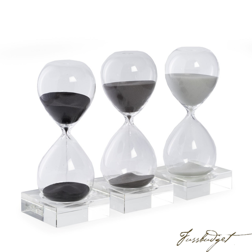 30 Minute Sand Timer on Crystal Base with Navy Sand.-Fussbudget.com