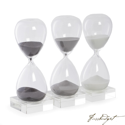 60 Minute Sand Timer on Crystal Base with Navy Sand.-Fussbudget.com