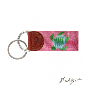 Turtle (Pink) Needlepoint Key Fob-Fussbudget.com