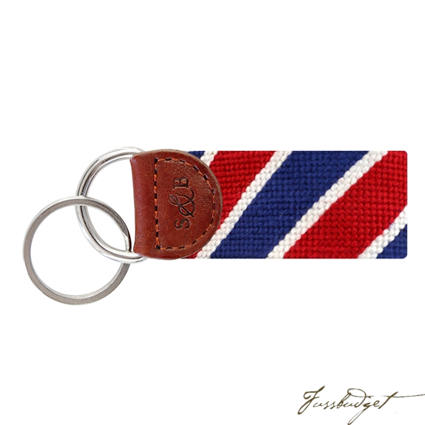 Patriotic Stripe Needlepoint Key Fob-Fussbudget.com