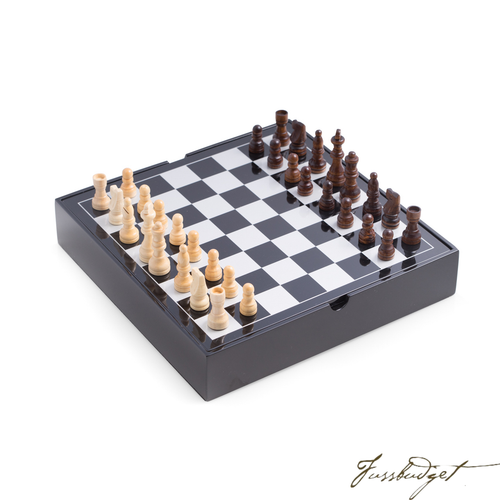 Black Lacquered Wood Multi Game Set-Fussbudget.com