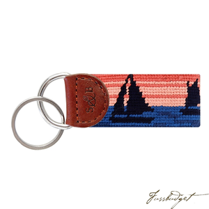 Sunset Sailing Needlepoint Key Fob-Fussbudget.com