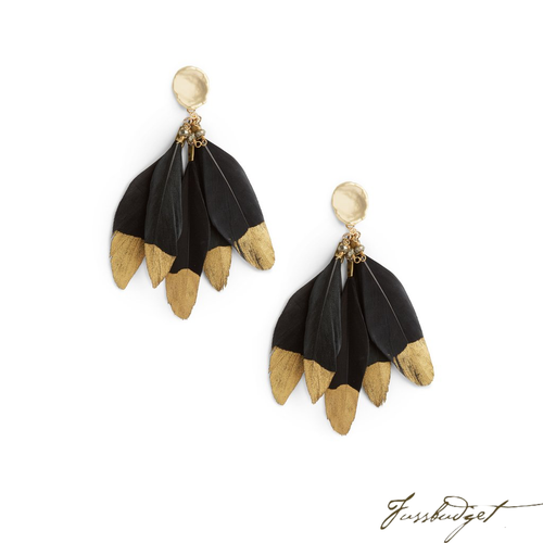 FEATHER EARRINGS | BLACK GOLD-Fussbudget.com