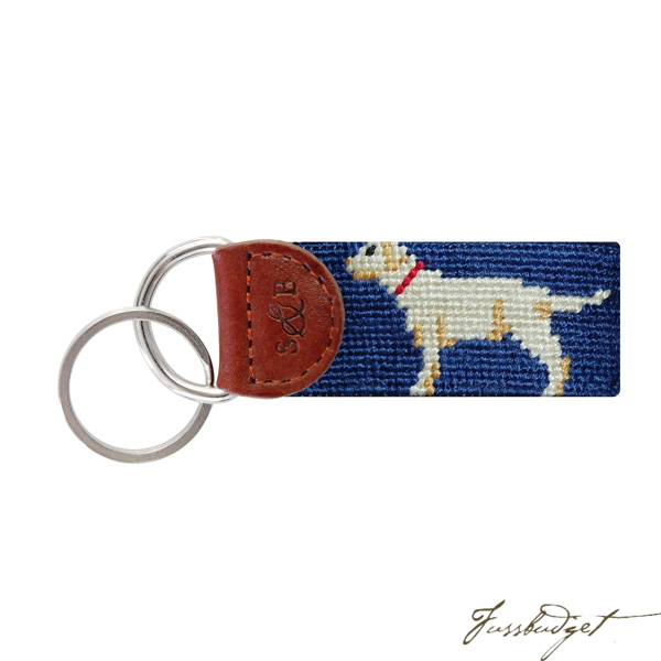 Yellow Lab Needlepoint Key Fob-Fussbudget.com
