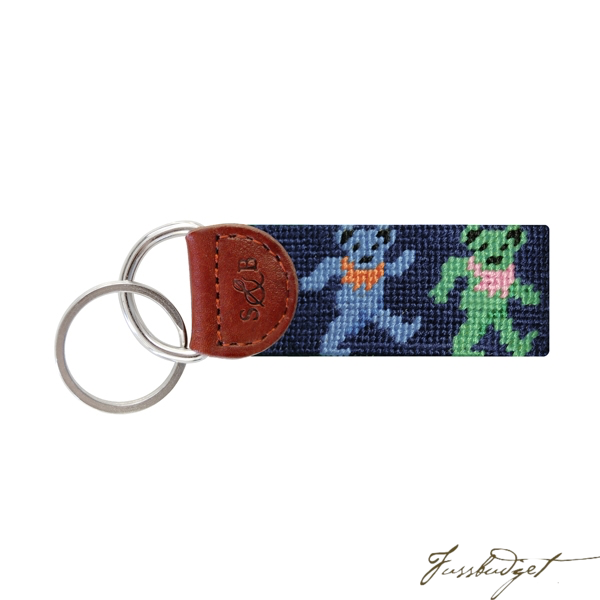 Dancing Bears Needlepoint Key Fob-Fussbudget.com