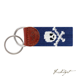 Jolly Roger (Navy) Needlepoint Key Fob-Fussbudget.com