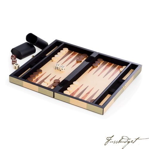 Backgammon Set with Birch and Olive Wood Inlay-Fussbudget.com