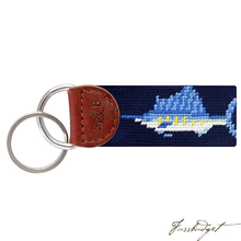 Load image into Gallery viewer, Billfish (Navy) Needlepoint Key Fob-Fussbudget.com