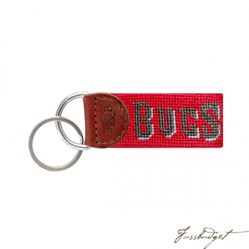 Tampa Bay Buccaneers Needlepoint Key Fob-Fussbudget.com