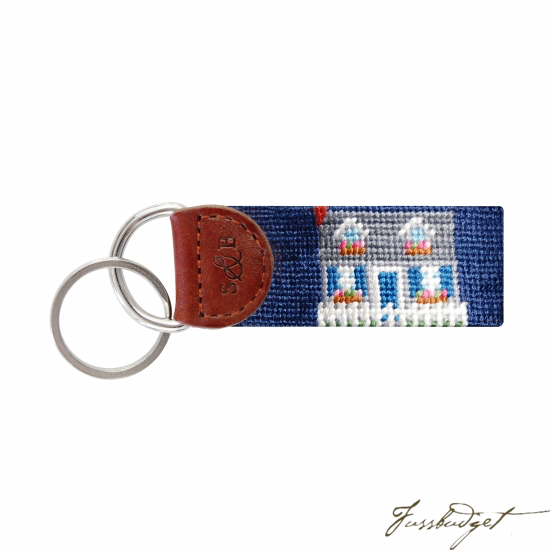 Beach Cottage Needlepoint Key Fob-Fussbudget.com