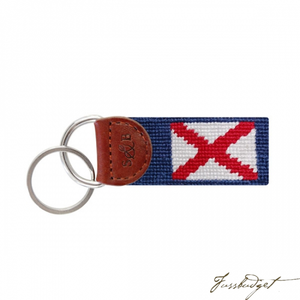 Alabama Flag Needlepoint Key Fob-Fussbudget.com