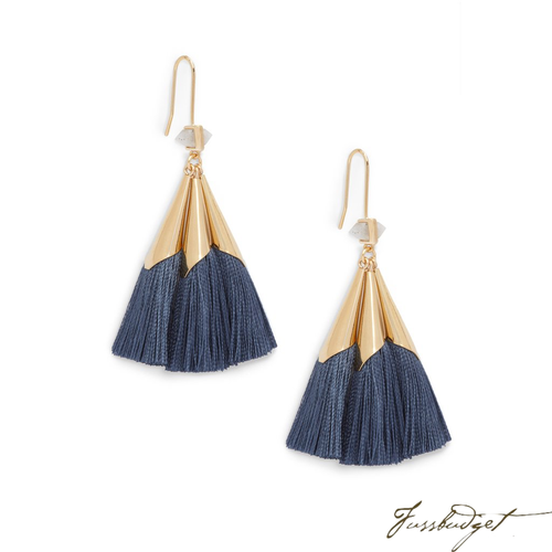 SONIA TASSEL EARRINGS | STEEL BLUE