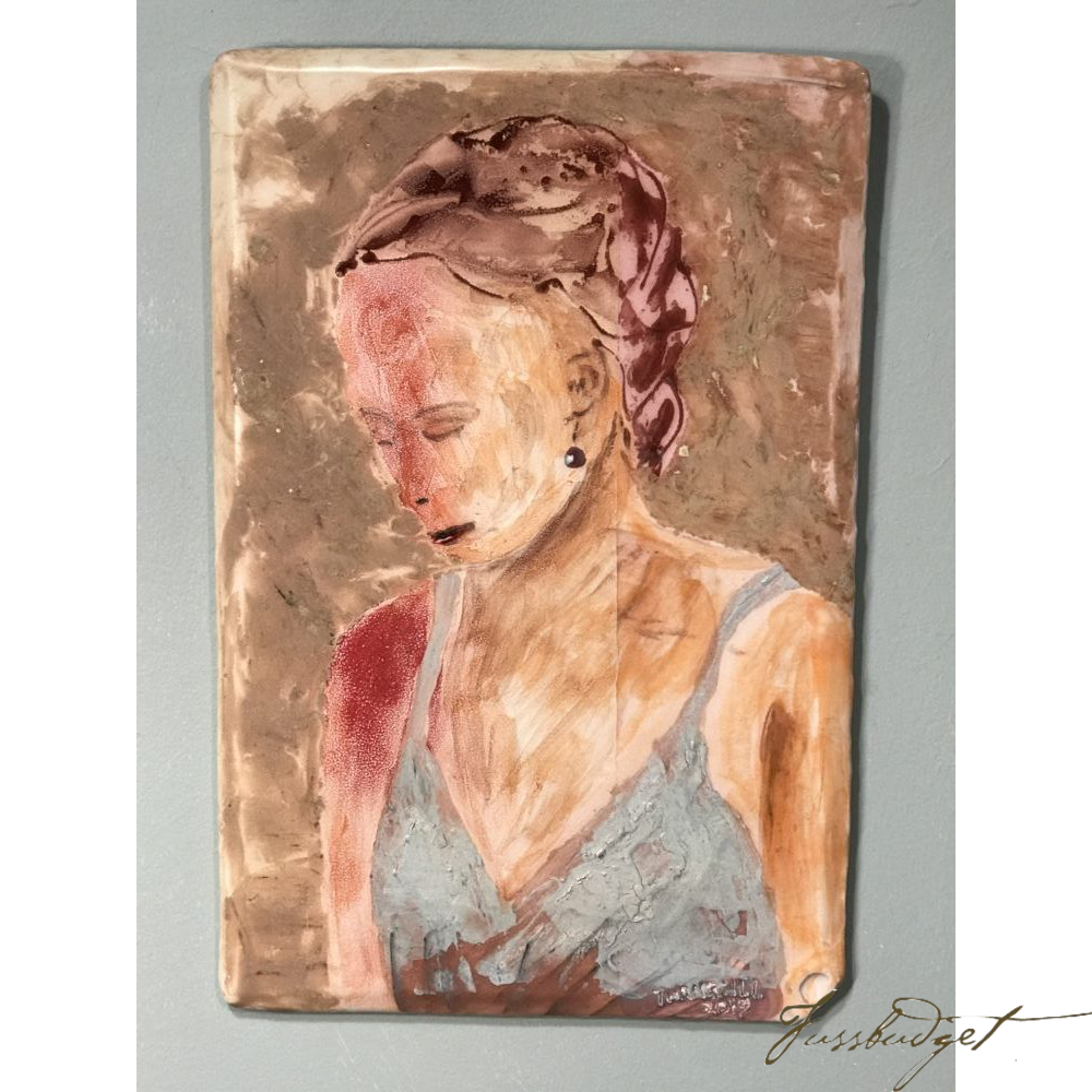 "Girl with a Red Shoulder by Tom Turnbull (16"" x 10 ½"")-Fussbudget.com"