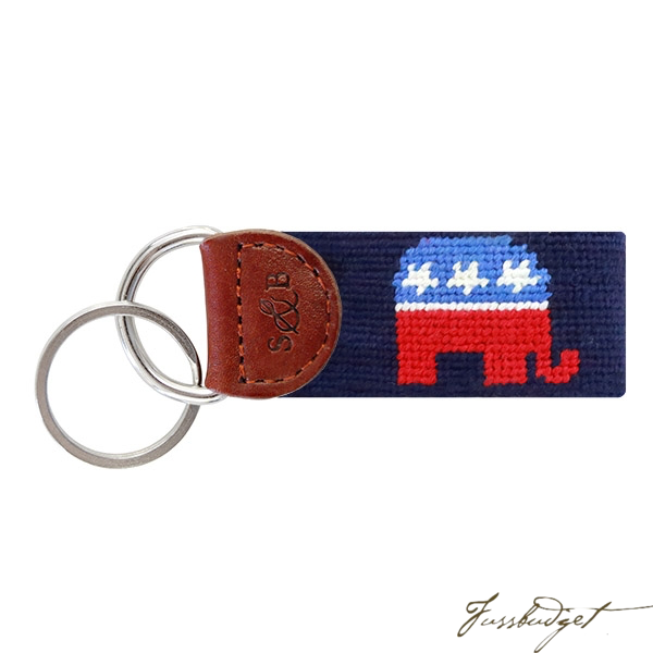 Republican Needlepoint Key Fob-Fussbudget.com