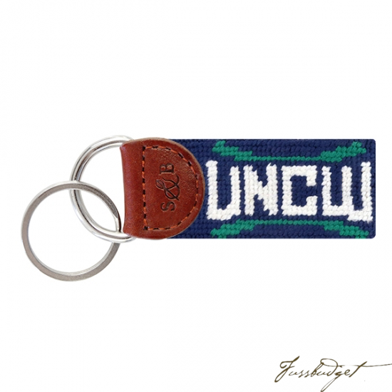 UNC Wilmington Needlepoint Key Fob-Fussbudget.com