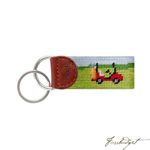Golf Cart Scene Needlepoint Key Fob-Fussbudget.com