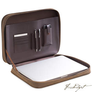 Computer & Accessories Carrying Case, Brown Ultra Suede & Leather, T.P.-Fussbudget.com