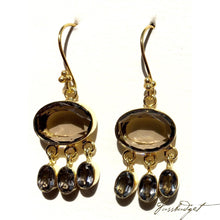 Load image into Gallery viewer, Giselle Semiprecious Dangling Stone Earrings-Smoky Quartz