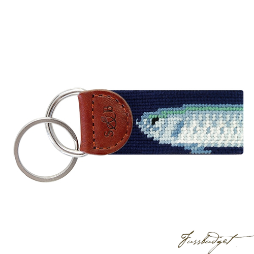 Big Tarpon (Dark Navy) Needlepoint Key Fob-Fussbudget.com