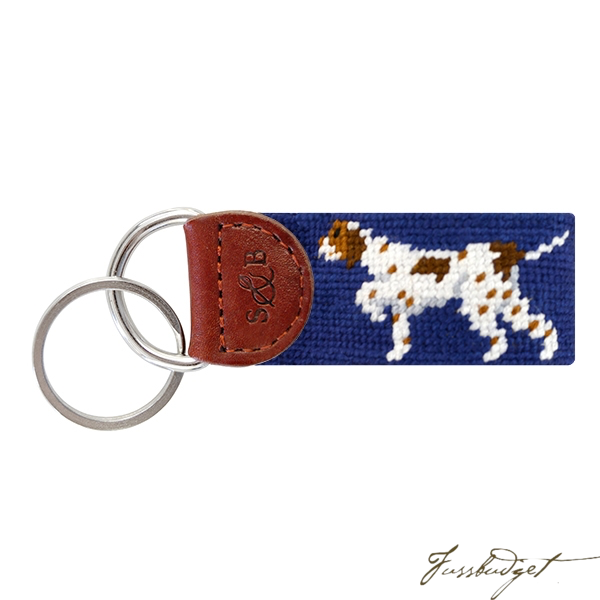 Pointer (Classic Navy) Needlepoint Key Fob-Fussbudget.com