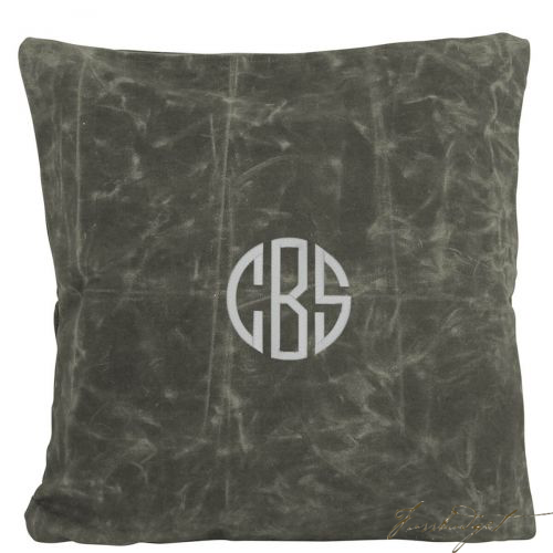 Monogrammed Waxed Canvas Pillow - Look Below for Links to Fonts & Colors