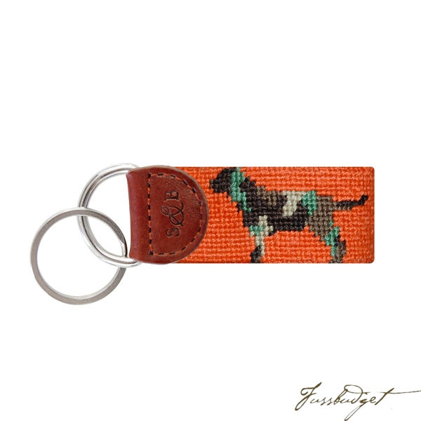 Camo Retriever Needlepoint Key Fob-Fussbudget.com
