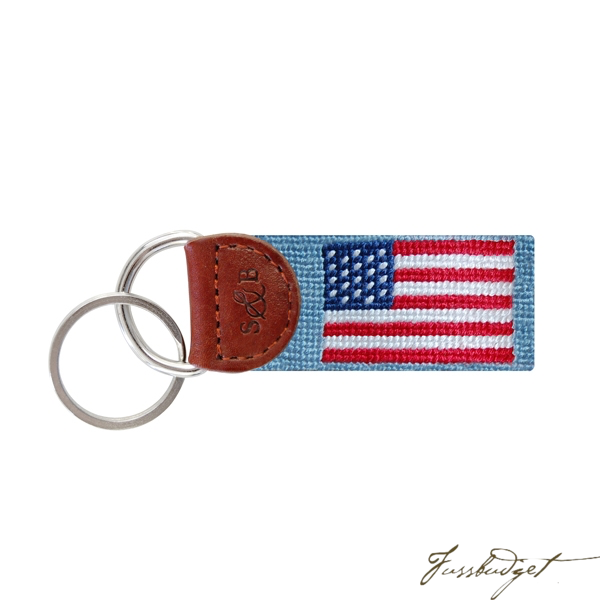 American Flag (Antique Blue) Needlepoint Key Fob-Fussbudget.com