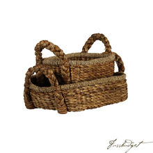 Load image into Gallery viewer, BRAIDED WATER HYACINTH TRAY SET OF 2 WITH HANDLES, RECTANGULAR
