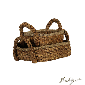 BRAIDED WATER HYACINTH TRAY SET OF 2 WITH HANDLES, RECTANGULAR