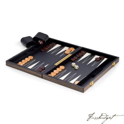 Backgammon Set with Wenge Wood Exterior and Black and White Interior-Fussbudget.com