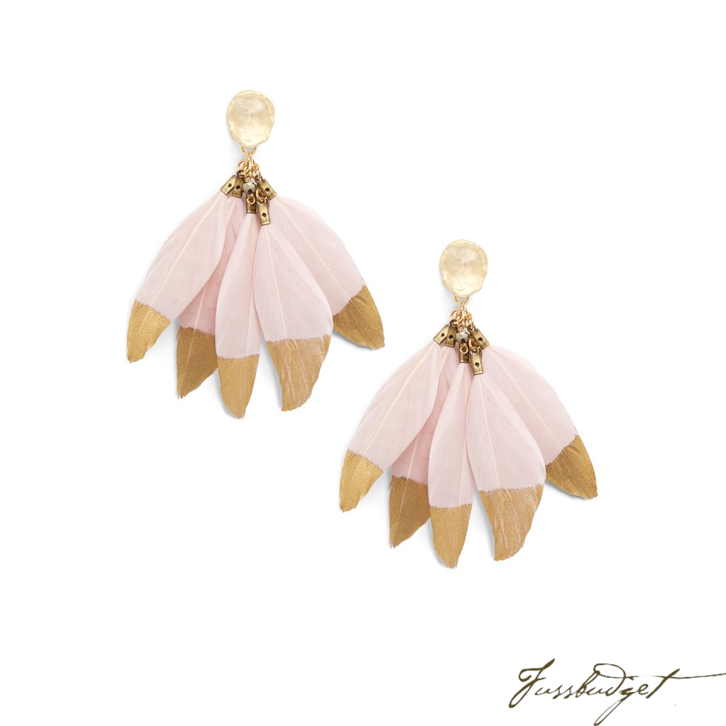 FEATHER EARRINGS | BLUSH GOLD BY EVER ALICE-Fussbudget.com