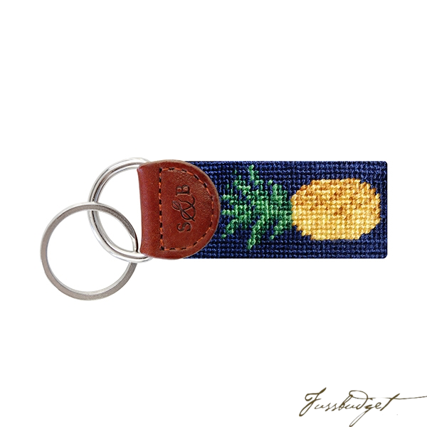 Pineapple Needlepoint Key Fob-Fussbudget.com