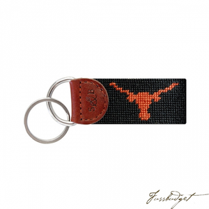 Texas (Black) Needlepoint Key Fob-Fussbudget.com