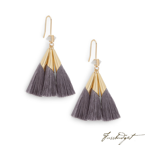 SONIA TASSEL EARRINGS | SLATE