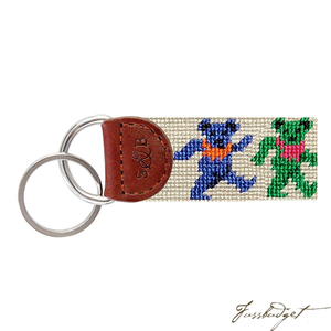 Dancing Bears (Oatmeal) Needlepoint Key Fob-Fussbudget.com