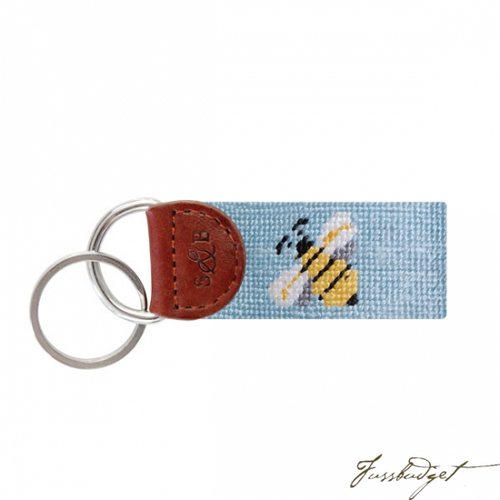 Bee Needlepoint Key Fob-Fussbudget.com