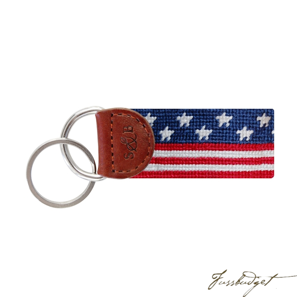 Old Glory Needlepoint Key Fob-Fussbudget.com