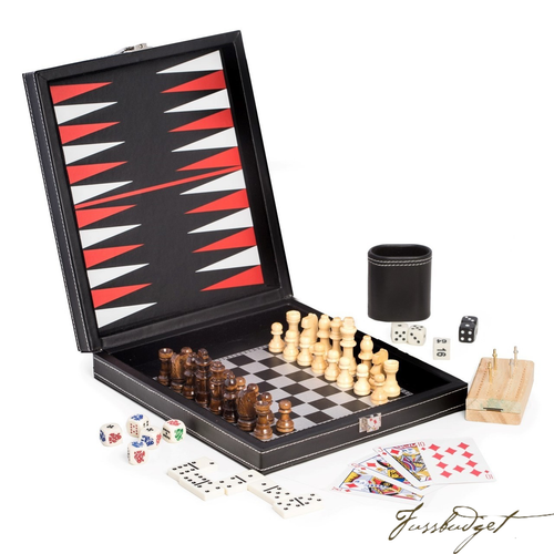 Black Leatherette 5 in 1 Game Set. Includes Chess, Backgammon, Cribbage, Dominos and a Deck of Playing Cards-Fussbudget.com