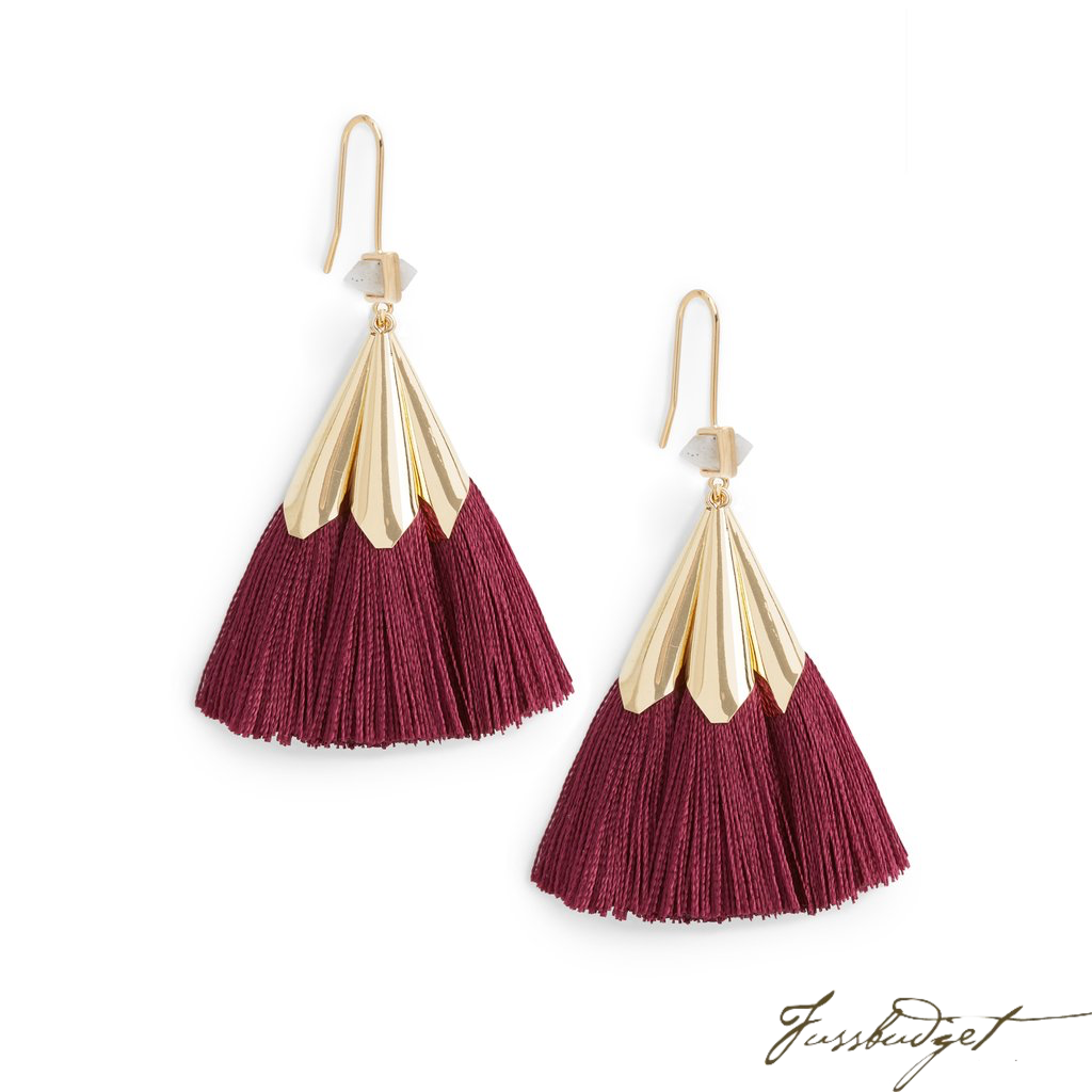 SONIA TASSEL EARRINGS | BURGUNDY-Fussbudget.com