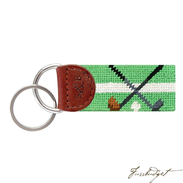 Crossed Clubs (Mint) Needlepoint Key Fob-Fussbudget.com