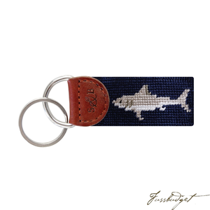 Great White Shark Needlepoint Key Fob-Fussbudget.com
